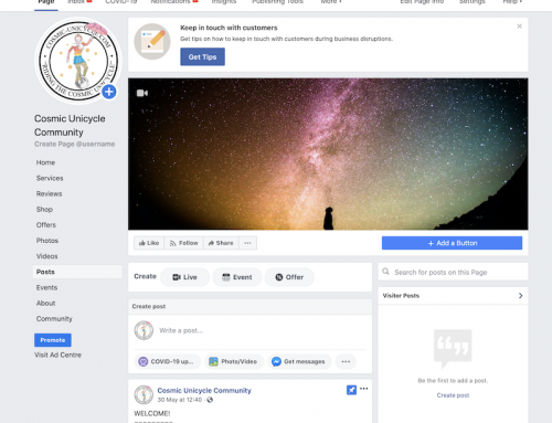 Cosmic Unicycle Community – New Facebook Page